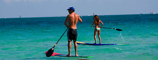 Paddle Surfing in Miami Beach