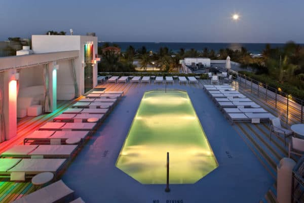The rooftop of the Hotel of South Beach. One of the historical hotel in Miami.